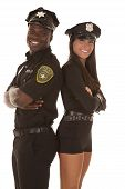 Male And Female Cop Back To Back Smiling