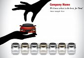 Car Sale Or Car Key Concept Illustration : A Hand Silhouette Choosing Red Colored Car Offered By Th
