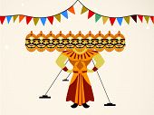 image of ravan  - Indian festival Dussehra concept with illustration of Ravan with his ten heads - JPG