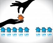 Concept Illustration Of Home Or House Buying: A Hand Silhouette Offering Red Colored House To A Buye