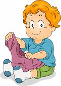 Illustration of a Male Toddler Holding a T-shirt While Trying to Dress Himself Up