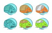 Vector set of vehicle icons, bus and train