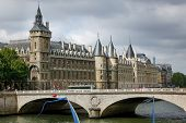 Conciergerie And Pont De Change On Quai De L'horloge, Ile De La Cit�, Paris, France