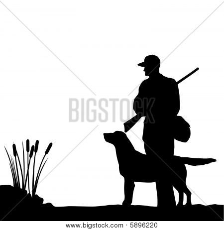 Picture or Photo of Silhouette of a bird hunter and his ...