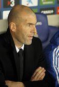 BARCELONA - JAN, 12: Real Madrid Sporting Diretor Zinedine Zidane during the Spanish League match between Espanyol and Real Madrid at the Estadi Cornella on January 12, 2014 in Barcelona, Spain