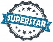 stock photo of superstars  - Superstar blue grunge vintage seal isolated on white - JPG