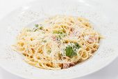stock photo of carbonara  - Spaghetti carbonara - JPG