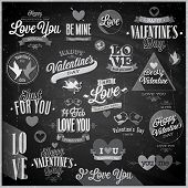 Valentine`s day set - emblems and other decorative elements - Chalkboard.
