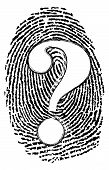 picture of crime solving  - Question mark is a crime solving whodunit fingerprint symbol for a homicide detective or police forensic science team hunting clues by dusting finger prints - JPG