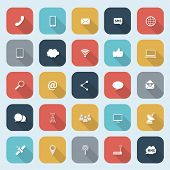 Trendy simple communication icons set in flat design with long shadows for web, mobile applications, social networks etc. Vector eps10 illustration