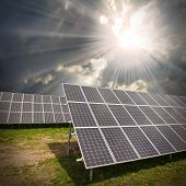 pic of sustainable development  - Solar panels against dramatic sky - JPG