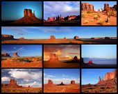 Collage showing different views and formations in Monument Valley