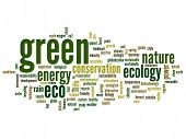 stock photo of environment-friendly  - Concept or conceptual abstract green ecology and conservation word cloud text on white background - JPG