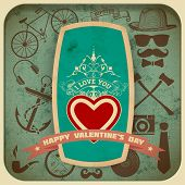 Vector. Happy valentines day card, elements by layers