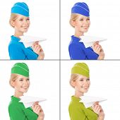 Charming Stewardess Holding Paper Plane In Hand. With Color Variants. Isolated On White Background.