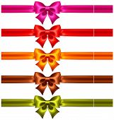 Festive Bows In Warm Colors With Ribbons