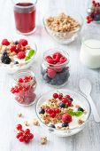 healthy breakfast with yogurt berry granola