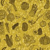 Tasty seamless pattern with green peas, eggplant, potato, carrot, pumpkin, avocado, leek, corn, cucumber, cabbage, radish, pepper, cherry tomato, chili, garlic, onion and others