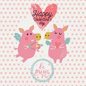 Romantic concept background in pink colors. Funny cartoon piglets on romantic Valentines day card in vector