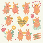 Nine cute pigs angels with hearts, balloon, flowers in cartoon style. Funny Valentines day set in vector. Childish concept illustration