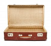 Empty vintage open suitcase on white background