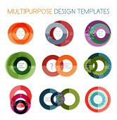 Collection of circle shaped multipurpose business design templates