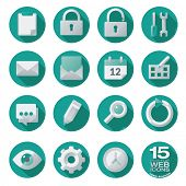 stock photo of semi-circle  - Semi flat web icons set of 15 vector design elements in circles - JPG