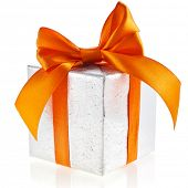 Single silver present box with orange  ribbon bow isolated on white background