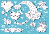 Valentine's Day Doodle Sky - Whimsical set of Valentine's Day clouds, rainbow, cherub, stars and a l