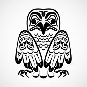 stock photo of totem pole  - Vector illustration of an eagle - JPG