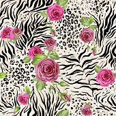Rose on animal abstract print. Seamless pattern   poster