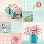 Pink And Light Blue Tone Collage