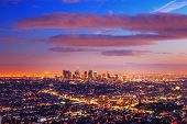 Los Angeles city skyline at dusk after sunset.