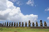CHILE - FEBRUARY 6: Moai sit on Easter Island on February 6, 2012. The giant monuments were carved f