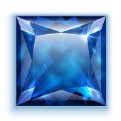 Princess cut sapphire gem - eps10 vector