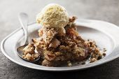 stock photo of vanilla  - apple crumble with vanilla ice cream - JPG