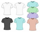 Men's short sleeve t-shirt design templates (front  view). Vector illustration. No mesh. Redact very