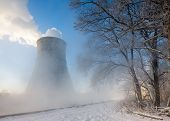 picture of reprocess  - thermal power plant in winter in  fog - JPG