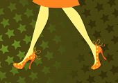 Female legs in orange shoes on a yellow background in stars