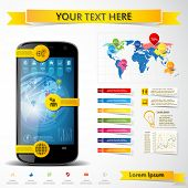 Modern smartphone with infographics elements. Vector illustration.