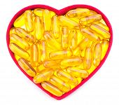 Fish Oil Capsules in Heart Shaped Box