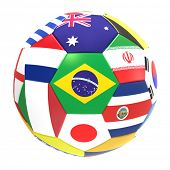 3D render of football with flags, representing all countries participating in football world cup in