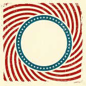 Vintage style aged USA themed grunge design with spiraling red and off white rays and center label with a blue ring of off white stars background and space for your text.