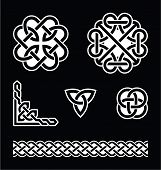 Celtic knots patterns in white on black background