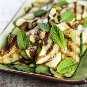 Grilled zucchini and mint salad.  Delicious, healthy courgettes.