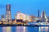image of minato  - Yokohama skyline at minato mirai area at night view - JPG
