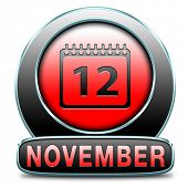 November fall or autumn month button or event calendar icon