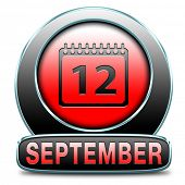 september button or icon for end of summer and begin fall or autumn month event agenda