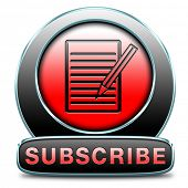 Subscribe here online free subscription and membership for newsletter or blog join today button or icon