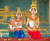 SIEM REAP, CAMBODIA - NOV 21. 2013: Khmer classical dancers performing in traditional costume on Nov